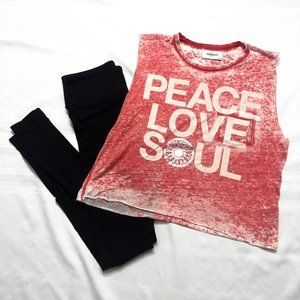 Soulcycle | Red Peace, Love, Soul Crop Tank